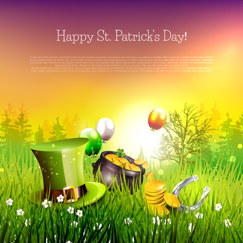 delicate patricks day art background vecor