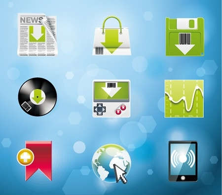 computer icons collection various colored flat arrow design