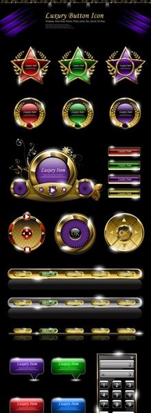 deluxe web button common 01 vector