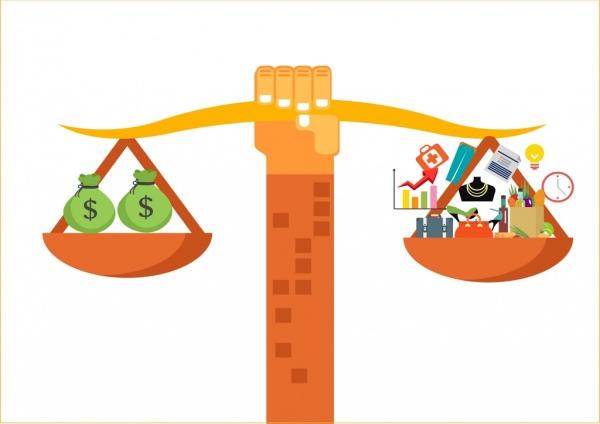demand and income concept balance icon