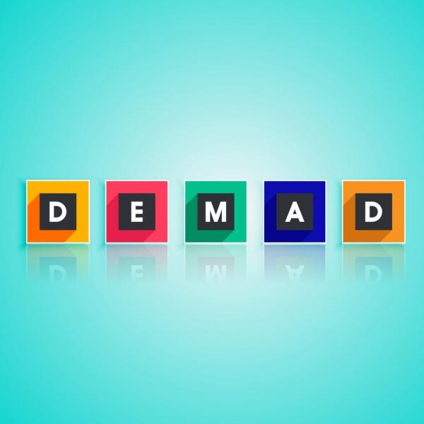 demand background colorful flat texts shiny reflection style