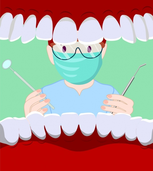 Dental Background Dentist Mouth Jaw Icons Cartoon Design Free Vector In Adobe Illustrator Ai Ai Format Encapsulated Postscript Eps Eps Format Format For Free Download 1 11mb