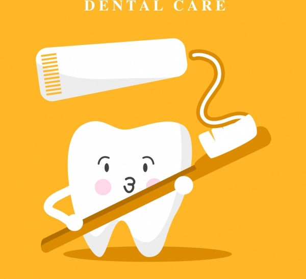 dental banner stylized tooth toothbrush tooth paste icons