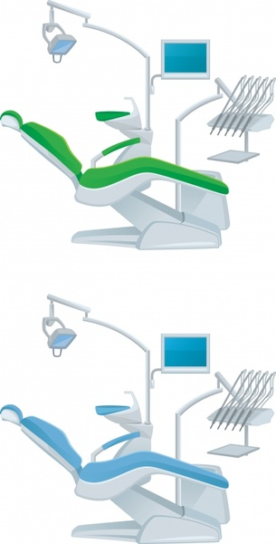 dental equipment icons modern 3d colored sketch