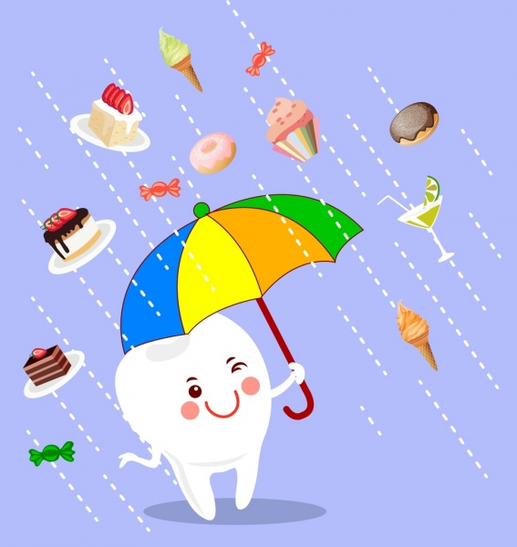 dentistry banner cute stylized teeth umbrella cake icons