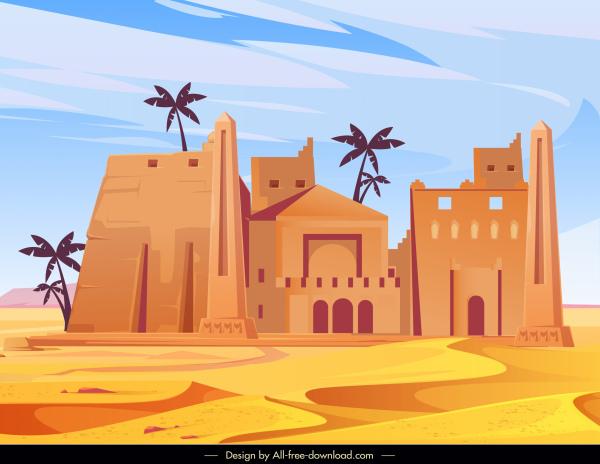 desert architecture painting colored retro sketch