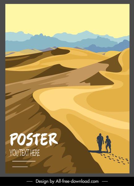 desert dune scenery poster bright classical design