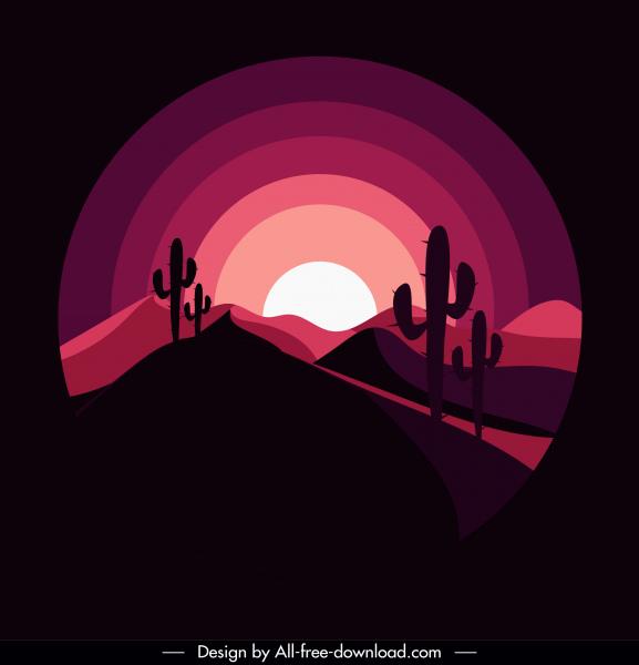 desert landscape background dark design moonlight sketch