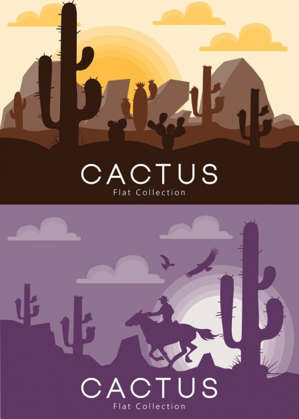 desert landscape background sets dark design cactus icon