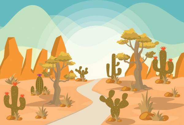 desert landscape drawing colored cartoon design cactus icons