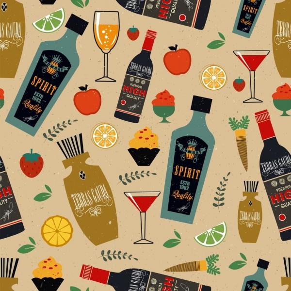 desert pattern wine bottles wineglasses fruit cream icons