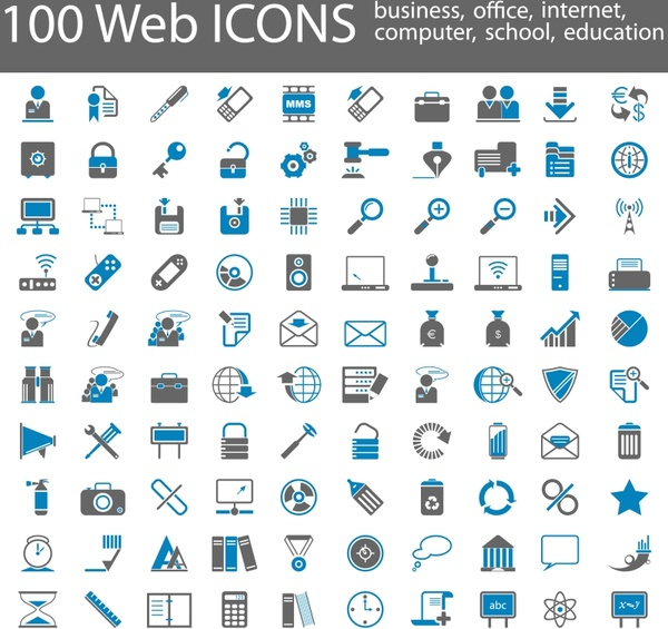 web icons collection simple flat shapes design