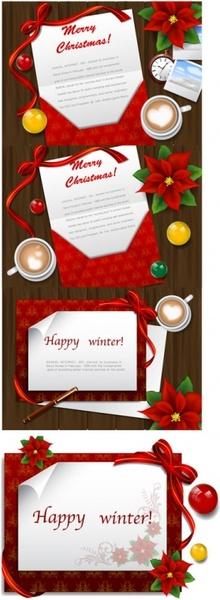 desktop christmas card vector