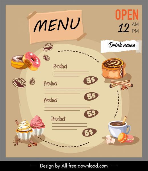 dessert menu template classical handdrawn food drink sketch