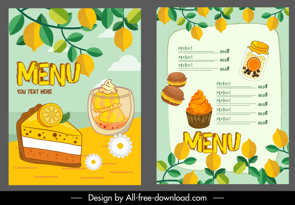 dessert menu template colorful classic handdrawn decor