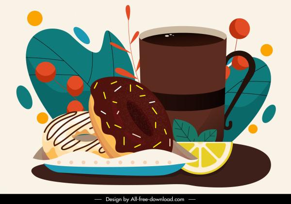 dessert painting colorful classic pie tea sketch