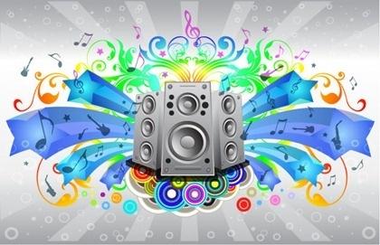 music festival banner colorful eventful design speakers decoration