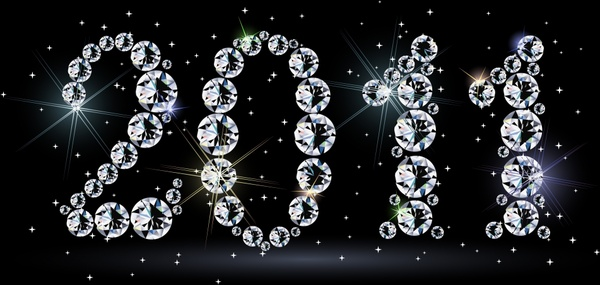 2011 new year banner sparkling gemstones numbers decor