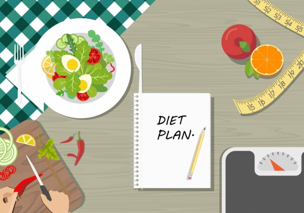diet banner vegetable food weight ruler notebook icons