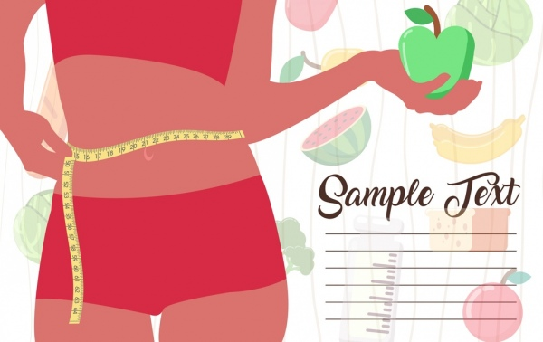 diet banner woman body ruler fruits icons decor