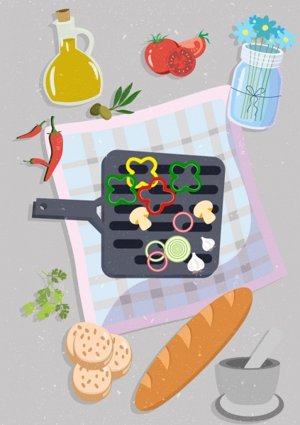 diet food banner vegetable bread icon retro design