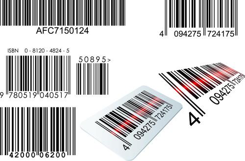 different bar codes design vector set