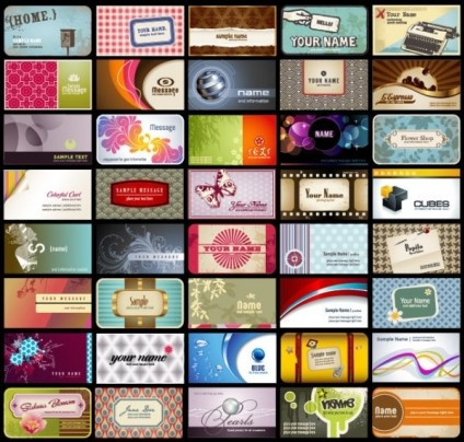 different business cards vector set