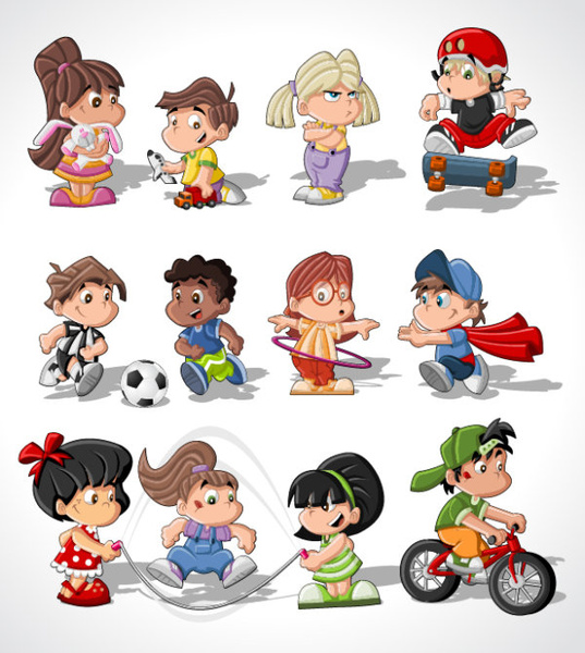 different cartoon children elements vector