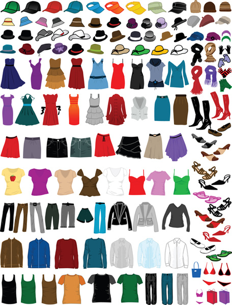 different clothes elements vector