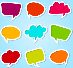 different colored speech bubbles vector