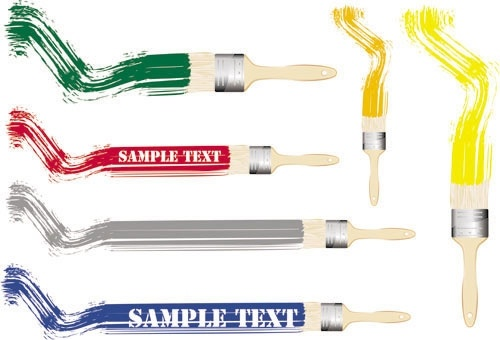 different colors of paint brush 02 vector