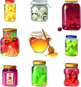 different food objects icons vector