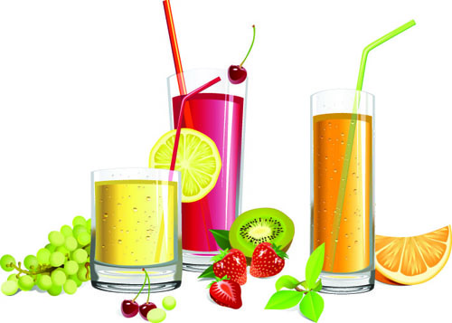 different fruit juice with glass cup vector set