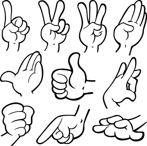 different hand gesture vector set