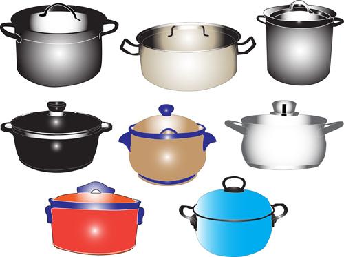 different kitchen utensils vector