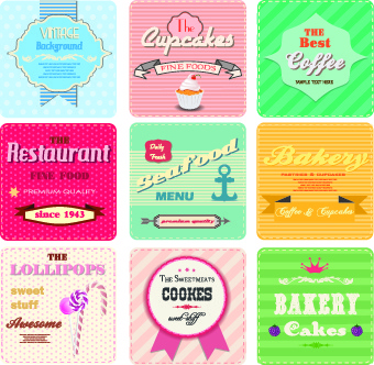 different retro food card vector