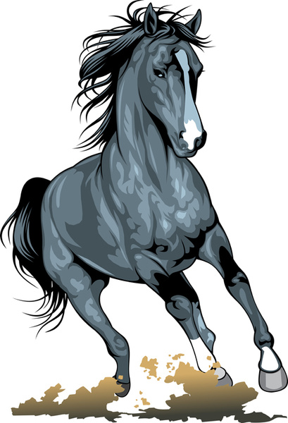 different running horses vector