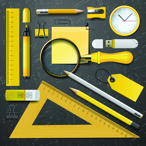 different school supplies vector set