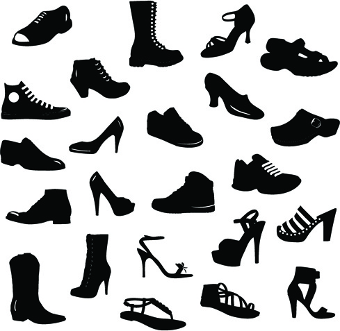 different shoes design vector silhouette
