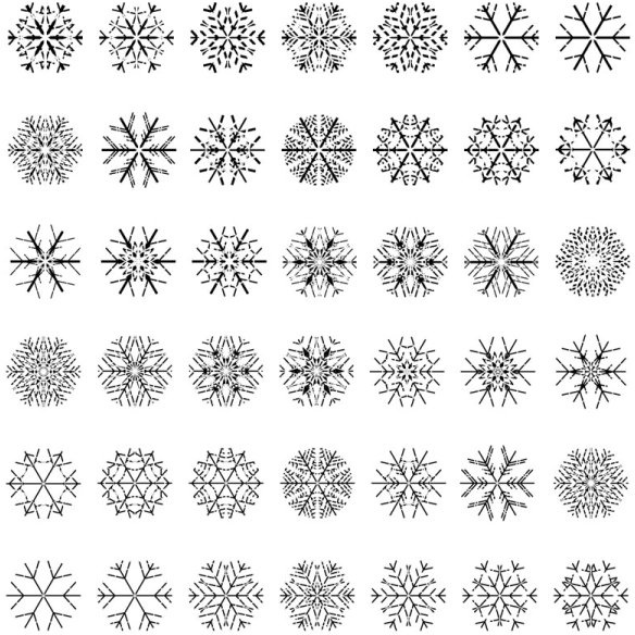 Different Snowflake Patterns Design Elements Vector Free Vector In Gorgeous Snowflake Patterns