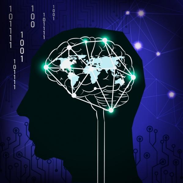 digital background head brain icon dark silhouette design