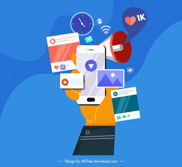 digital communication concept background hand media elements