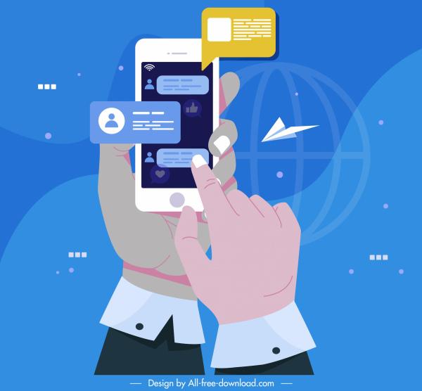 digital communication concept background smartphone hands sketch