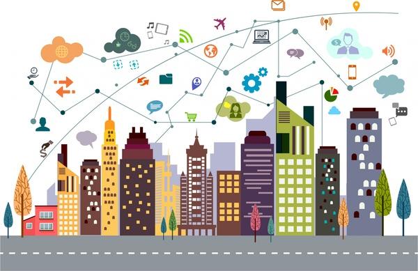 digital communication concept cityscape and ui design style