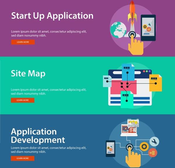 digital development elements illustration with website banners