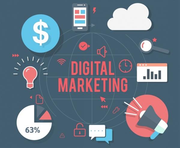 digital marketing background business design elements flat decor