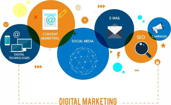 digital marketing background circles ui icons decor