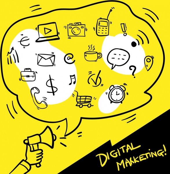 digital marketing banner handdrawn speech bubble ui icons