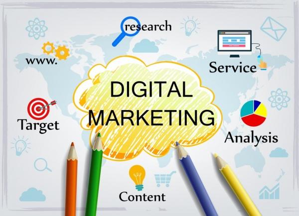 digital marketing concept handdrawn cloud sketch colorful symbols