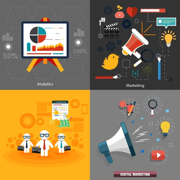 digital marketing concepts isolation with colored design elements